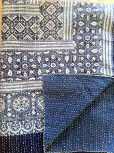 Kantha Blockprinted Quilt from Flynn Flynn @ Pretty Mommy Shibori, Kantha Quilt, Quilts, Bordado Popular, Indian Textiles, Kantha Stitch, Running Stitch, Textile Fabrics, Boro
