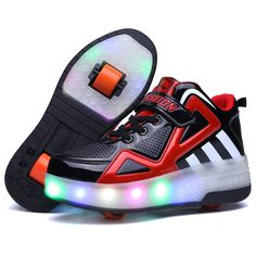 Nsasy LED High Top Roller Sneaker Single Wheel Double Wheel Light Up Shoes (34 Eur / 3 M US Little Kid, Black / Red (Double Wheel)). Please purchase, according to the length of the foot to buy, it is recommended to buy a large size. Our store name is Nsasy, the brand is Nsasy, please buy our legitimate brand products, please note some counterfeit our brand.If it is from these stores to buy products, Please do not believe that we are now selling the lowest activity, so their product…