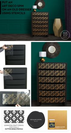 Cutting Edge Stencils shares how to makeover an old dresser using an Art Deco stencil pattern, the Lexington Craft. http://www.cuttingedgestencils.com/lexington-craft-stencil-furniture-stencils.html