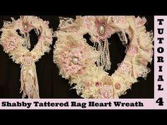 Tattered Heart Wreath, Shabby Chic tutorial, wall decor, fabric lace by Crafty Devotion Shabby Chic Kranz, Shabby Chic Cakes, Shabby Chic Flowers, Shabby Chic Fabric, Diy Flowers, Fabric Flowers, Diy Wreath, Wreaths, Wreath Ideas