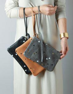 RARAMODO Leather clutch with confetti triangles