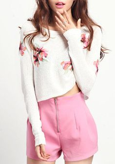 White Embroidery Flowers Long Sleeve Thin Knit Sweater - I love the sweater, would go great with jeans, or pretty pink shorts that don't have an obvious zipper up the crotch.
