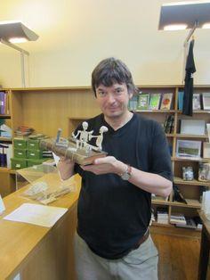 Ian Rankin with paper sculpture (June 2012)