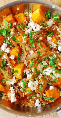 Healthy Quinoa Salad with Roasted Butternut Squash, Pine Nuts, Caramelized Onions and Feta cheese, with French Vinaigrette salad dressing Vegetable Recipes, Vegetarian Recipes, Healthy Recipes, Healthy Cooking, Healthy Eating, Cooking Recipes, French Vinaigrette, Roasted Butternut Squash, Vegan