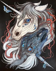 Caitlin Hackett - Radiance and Rot- Watercolor,acrylic, pen & ink on paper x Art And Illustration, Fantasy Kunst, Fantasy Art, Unicorn Tattoos, Unicorn Art, Witch Art, Horse Art, Mythical Creatures, Artist Art