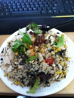 bean, roasted corn and quinoa salad with grilled white chicken, green ...