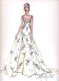 Hand-painted wedding dress 2013 by Joybuy Wedding Dress Illustrations, Wedding Dress Sketches, Wedding Dresses, Fashion Illustrations, Paper Fashion, Fashion Art, Vintage Fashion, Fashion Design Drawings, Fashion Sketches