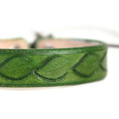 Green Leather Bracelet with Leaves -
