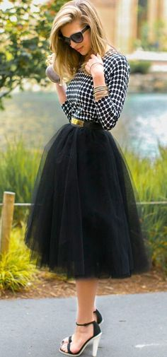 Black Plain Mesh Grenadine Draped Fluffy Puffy Tulle High Waisted New Faldas Adorable Tutu Midi Skirt