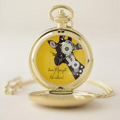 Funky Cool Paisley Giraffe Funny Animal Yellow Pocket Watch - humor funny fun humour humorous gift idea