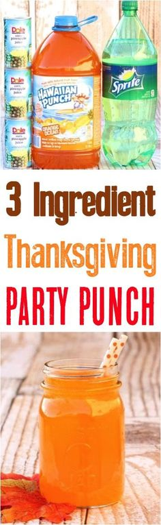 Thanksgiving Recipes - this orange Fall punch recipe is the perfect drink to serve at your next Autumn party!