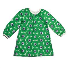 Aurora Dress - Anemones Green & Navy from WWF