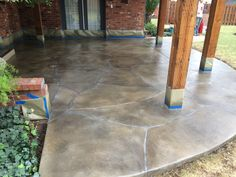 Flagstone Pattern overlay, Stained Charcoal, Medium Grey, and Sealed Concrete. Concrete Finishes, Stamped Concrete, Flagstone, Overlays, Tile Floor, Charcoal, Exterior, Flooring, Decorating