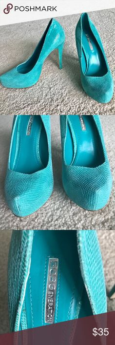 BCBGeneration turquoise pumps 👠 Great condition BCBGeneration turquoise leather pumps! They were worn once (some marks on sole but heel bottom is in excellent condition). They're size 8, unfortunately they run a little small for my foot. Please feel free to ask any questions :) The cover photo is a styling example as seen on celebrities (not the same shoe). BCBGeneration Shoes Heels