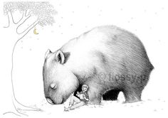 Wombat Pillowcase with Boy facing Left. by flossypArt on Etsy