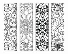 4 Mandala Colouring Bookmarks Meditation, Peace, Joy, Stress Relieving by Intrik… - Crafts 2019 Free Printable Bookmarks, Diy Bookmarks, Leather Bookmarks, Mandala Printable, Bookmark Template, Coloring Book Pages, Coloring Sheets, Mandala Coloring, Printable Coloring
