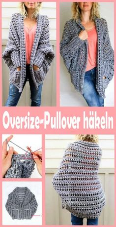 5 Beautiful Crochet Sweater Free Patterns – knitting sweaters for kids Beau Crochet, Pull Crochet, Diy Crochet, Crochet Shrug Pattern Free, Crochet Cardigan Pattern, Free Pattern, Crochet Shrugs, Oversized Pullover, Jersey Oversize