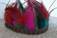 Festival Feather Headdress, Boho Feather headband / Indian Headdress