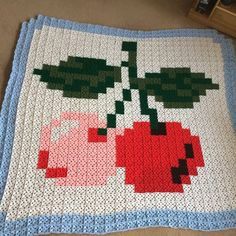 Cherries pixel crochet blanket by Donna Louise