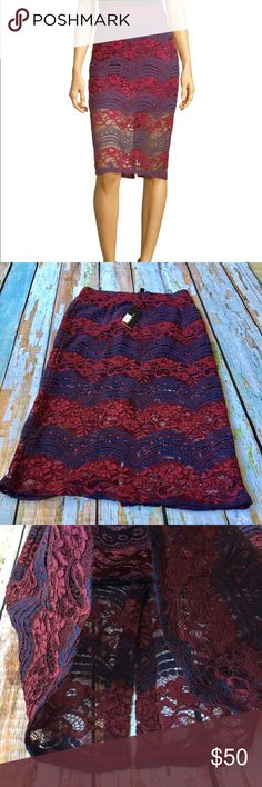 BNWT Romeo & Juliet Couture Lace Pencil Skirt Stunning skirt and so unique! Lined only halfway down, Lace on top. A pencil skirt with some flair! Maroon and navy blue, zips up the back. Does run a little on the small side. Meant to hit right above knee. BNWT Romeo & Juliet Couture Skirts Pencil