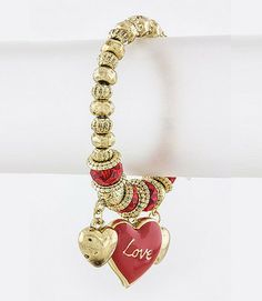Red Hot Love Charm Bracelet | Glit-Z Jewelry