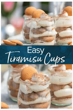These Easy Tiramisu Cups are made with a secret ingredient, NILLA Wafers! These desserts made with NILLA Wafers dipped in coffee, then layered with mascarpone mousse and topped with cocoa powder, make for the cutest mini treat. Dessert Party, Mini Dessert Cups, Mini Dessert Recipes, Individual Desserts, Desserts For A Crowd, Köstliche Desserts, Delicious Desserts, Easy Summer Desserts, Pudding Desserts