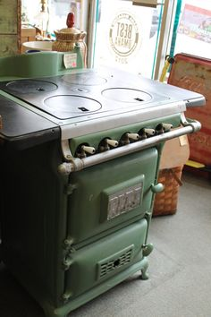 i can see myself burning some stuff up on this, literally lol...i love it and want it in my kitchen... 1920's Pitt Gas Stove Cabin Size Rare by BackinthedayOmaha on Etsy, $1495.00