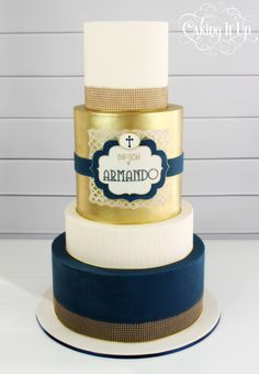 Baptism cake in navy, gold and white with edible hessian… Christian Cakes, Dedication Cake, Religious Cakes, Confirmation Cakes, First Communion Cakes, Baby Shower Cakes For Boys, Religion, Caking It Up, Celebration Cakes