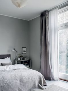 Photographed by Chris Tonnesen for Elle Decoration Denmark Danish interior stylist Cille Grut& home is a mix of different shades of gray and beige colours also known as Curtains Living Room, Bedroom Inspirations, Home Bedroom, Bedroom Interior, Bedroom Design, Grey Walls, Dream Decor, Home Decor, House Interior