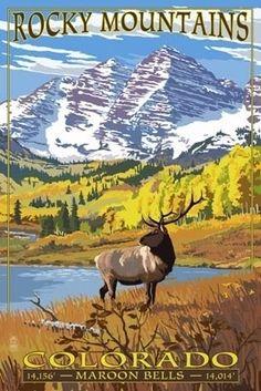 Maroon Bells - Rocky Mountain National Park - Lantern Press Poster