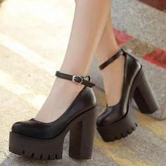 Thick Heels, Black High Heels, Black Shoes, Cute High Heels, Black Chunky Heels, High Heeled Boots, Cute Black Heels, Black Mary Jane Heels, Black Heel Boots