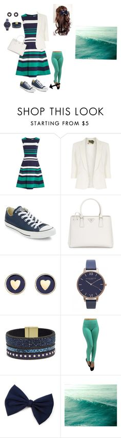 """""""Fashion by the beach"""" by maggiewaggie ❤ liked on Polyvore featuring Dickins & Jones, Jolie Moi, Converse, Prada, Brooks Brothers, Olivia Burton and Elise M."""