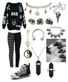 Designer Clothes, Shoes & Bags for Women Cute Emo Outfits, Bad Girl Outfits, Scene Outfits, Teenage Girl Outfits, Tomboy Outfits, Gothic Outfits, Teen Fashion Outfits, Retro Outfits, Outfits For Teens