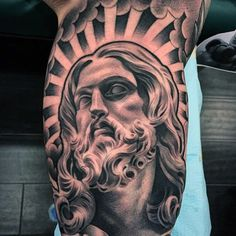 a look at some black and grey tattoos, rose tattoo, religious tattoos, greek statue tattoos, sleeve tattoos and skull tattoos. Jesus Tattoo Design, Tattoo Design Drawings, Tattoo Sleeve Designs, Tattoo Designs Men, Sleeve Tattoos, Dove Tattoo Design, Lil B Tattoo, Religous Tattoo, Christ Tattoo