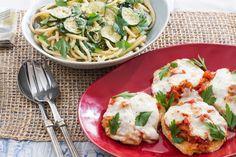 Chicken Parmesan with Fresh Mozzarella & Spinach-Zucchini Pasta