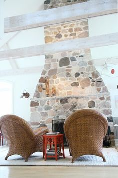 Big stone fireplace
