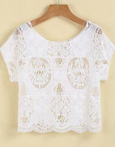 White Short Sleeve Hollow Crop T-Shirt 18.33