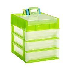 3-Drawer Desktop Organizer Clear/Lime