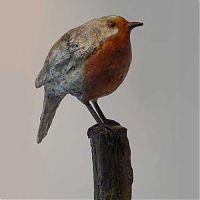 Kunst - brons beeld - Roel Gort - Roodborstje