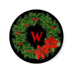 Monogram Holly Wreath Christmas on Black Stickers