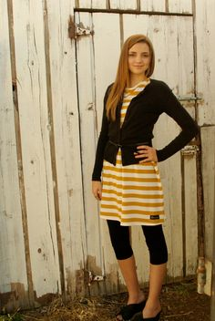 Mustard Yellow and White Striped Knit Tunic from by Gogreenstyle, $48.00
