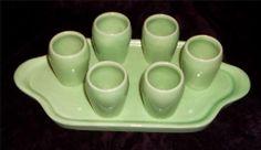 Vintage German Pottery Set - 6 Shot Glass on Tray - Unusual - Neat Item