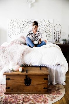 Bedroom with Magical Thinking Pom-Fringe Duvet Cover and Agda Printed Yarn Pillow