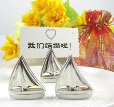 """""""Shining Sails"""" Silver Place Card Holders (Set of Four) Unique Wedding Favors, Unique Weddings, Personalized Favors, Bridal Shower Favors, Thank You Gifts, Beach Themes, Anniversary, Place Card Holders, Baby Shower"""