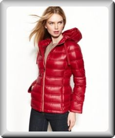 Calvin klein women s red down quilted hooded puffer coat