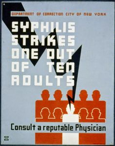 Syphilis strikes one out of ten adults Consult a reputable physician. NYC : Federal Art Project, or Library of Congress. Good Enough, Works Progress Administration, Medical Photos, Department Of Corrections, Nyc, Library Of Congress, World War Ii, Art Projects, The Past