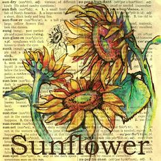 flying shoes art studio: SUNFLOWER ON DISTRESSED DICTIONARY PAGE
