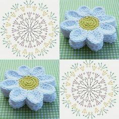 Get Colorful And Best Designs Of Crochet - Diy Crafts Crochet Motif Patterns, Crochet Chart, Thread Crochet, Crochet Designs, Knitting Patterns, Crochet Daisy, Crochet Mandala, Diy Crochet, Crochet Flowers