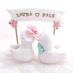 Wedding Cake Topper Love Birds White Light Pink Mint by LavaGifts, $77.00