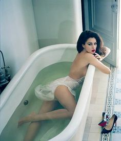 Monica Belluci - bath tub photography photoshoot - Vanity Fair Spain - February 2013.